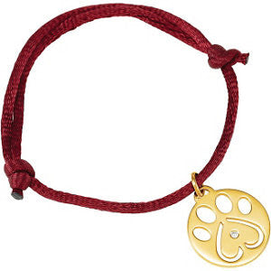"14K White .02 CTW Diamond Dog Paw Red Cord 6.5-8"" Bracelet"
