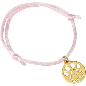 "14K White .02 CTW Diamond Dog Paw Pink Cord 6.5-8"" Bracelet"