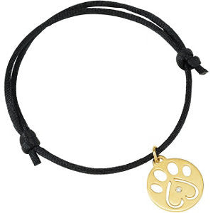 "14k Yellow Gold .02 CTW Diamond Dog Paw Black Cord 6.5-8"" Bracelet"