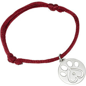 "14k White Gold .02 CTW Diamond Dog Paw Red Cord 6.5-8"" Bracelet"