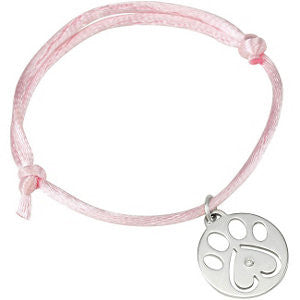 "14k White Gold .02 CTW Diamond Dog Paw Pink Cord 6.5-8"" Bracelet"