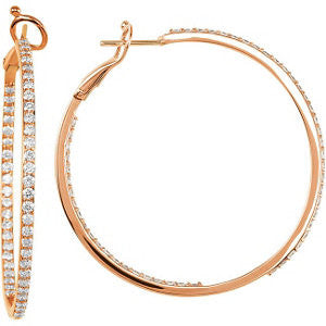 14k Rose Gold 2 CTW Diamond Inside/Outside Hoops