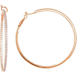 14k Rose Gold 2 3/4 CTW Diamond Inside/Outside Hoops