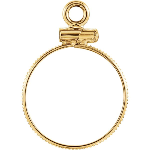 14k Yellow Gold Coin Edge Screw-Top Coin Frame Mounting