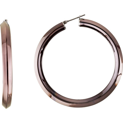 Pair of Amalfi Stainless Steel Knife Edge Hoop Earrings