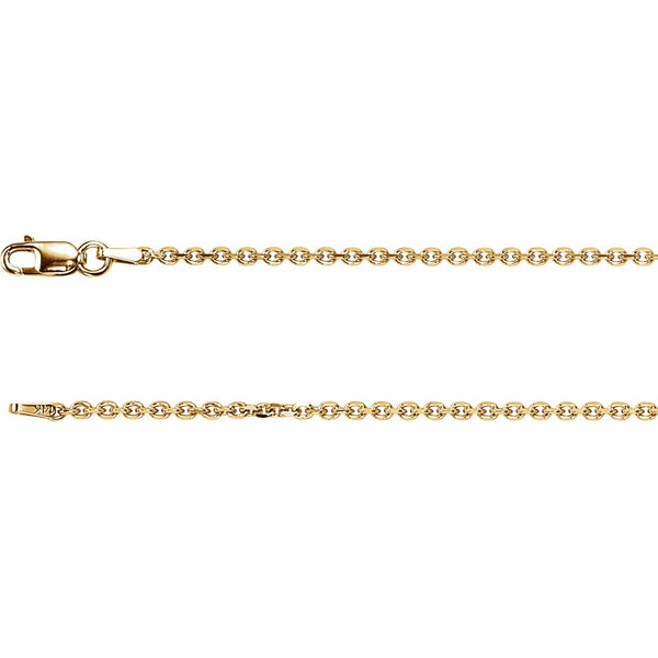 14k Yellow Gold 1.75mm Solid Diamond-Cut Cable 7