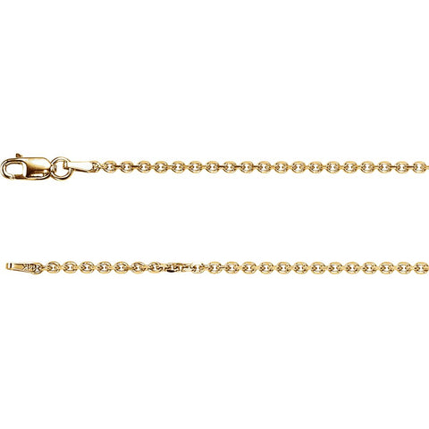 1.75 mm Solid Diamond-Cut Cable Chain Bracelet in 14k Yellow Gold ( 7-Inch )