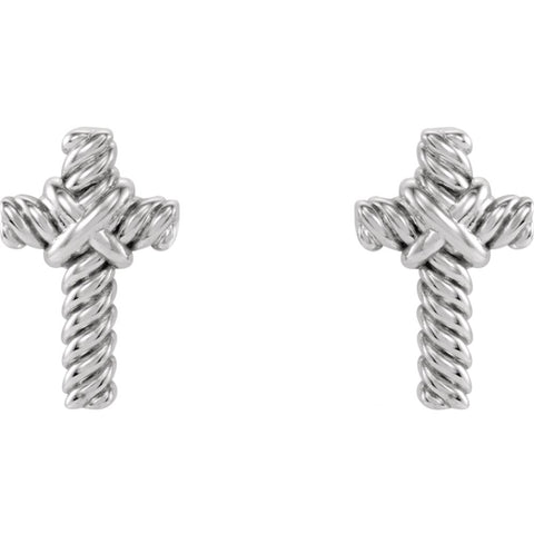 14k White Gold Rope Cross Earrings
