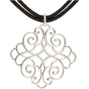 "Sterling Silver 1/10 CTW Diamond Black Cord 16-18"" Necklace"