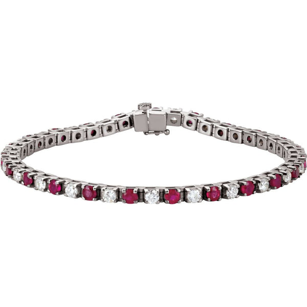 "14k White Gold Ruby & 2 1/3 CTW Diamond 7.25"" Bracelet"