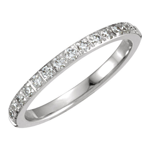 14k White Gold 1/3 CTW Diamond Anniversary Band, Size 8