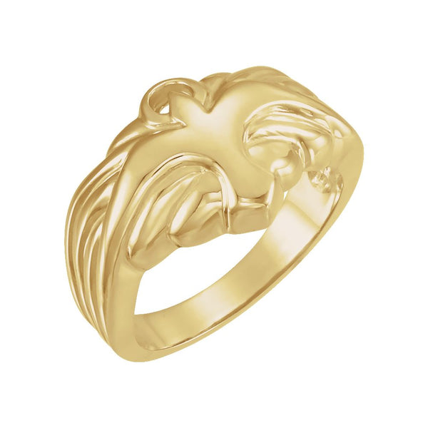 14k Yellow Gold Holy Spirit Dove Ring, Size 11