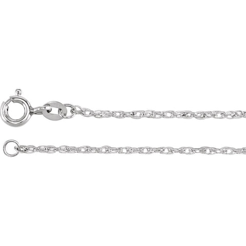 "Sterling Silver 1.25mm Rope 16"" Chain"