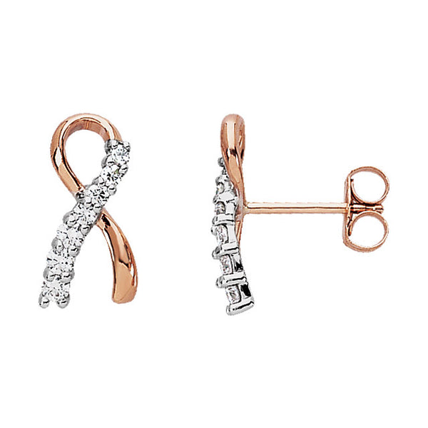 14k Rose Gold with White Rhodium Plating 13x6.75mm .27 CTW Diamond Earrings