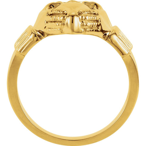 14k Yellow Gold 14.5x10.5mm Ladies Claddagh Ring, Size 7
