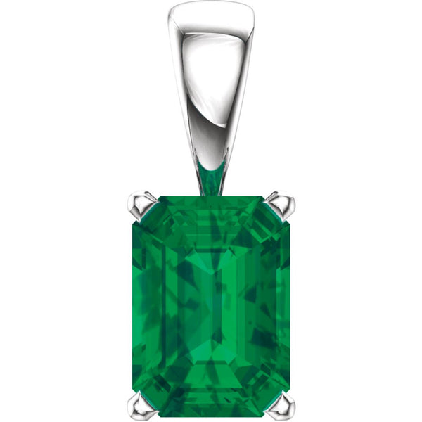 14k White Gold Chatham® Created Emerald Pendant