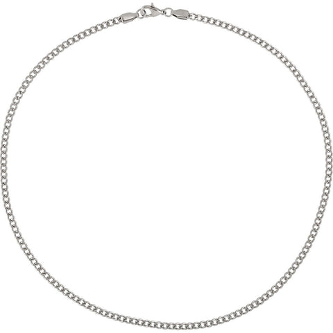 "Stainless Steel 3.2mm Diamond-Cut Curb 18"" Chain"