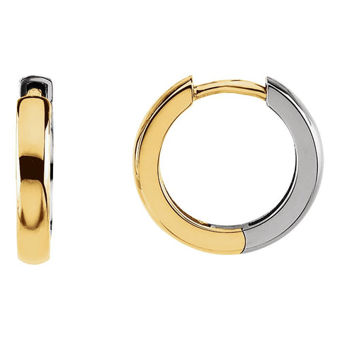 14K Yellow Gold/White 14mm Hinged Earrings