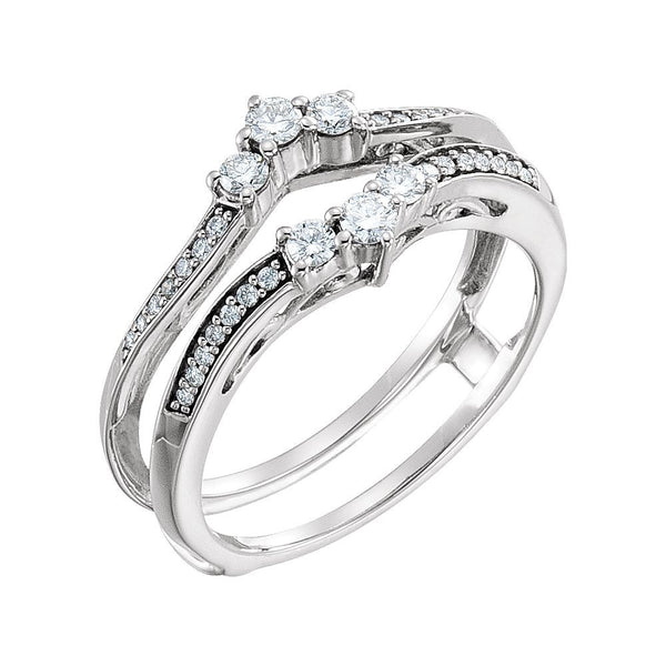 14k White Gold 1/3 CTW Diamond Ring Guard , Size 7