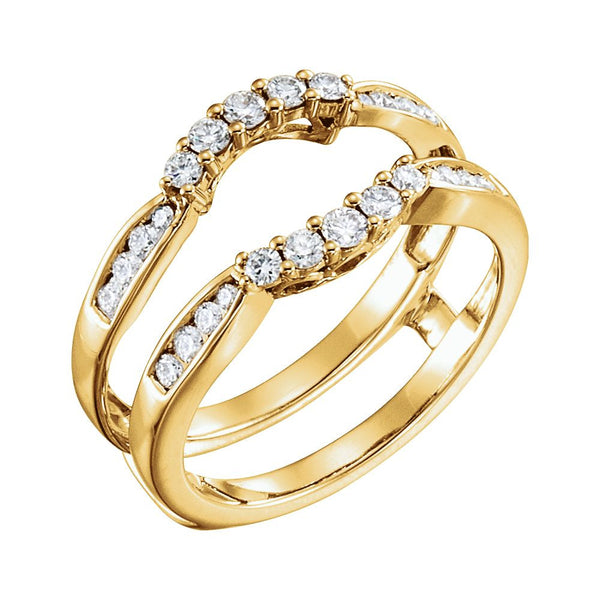 14k Yellow Gold 1/2 CTW Diamond Ring Guard , Size 7