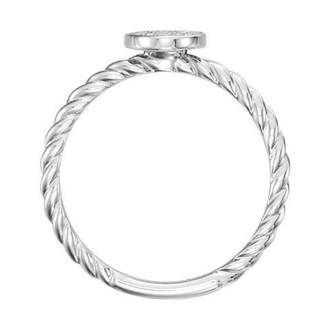 14k White Gold 1/6 CTW Diamond Rope Cluster Ring, Size 7