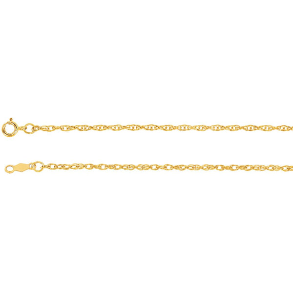 "14k Yellow Gold 1.5mm Rope 16"" Chain"