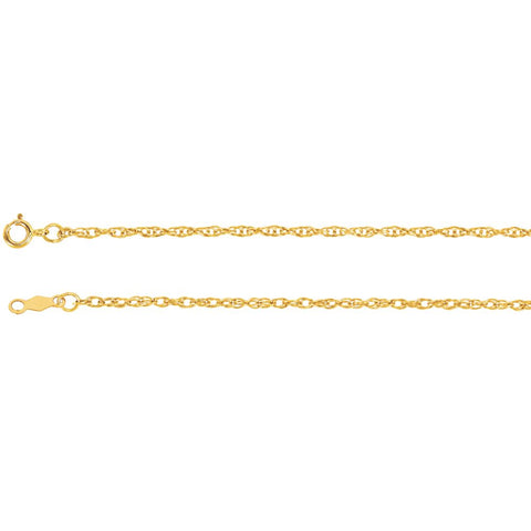 1.5 mm Lasered Titan Gold Rope Chain in 14k Yellow Gold ( 16-Inch )