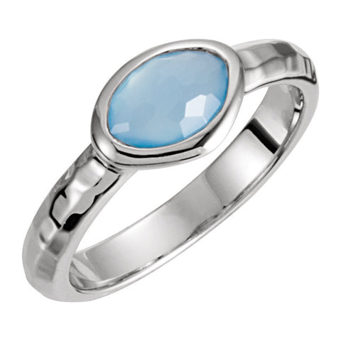 Sterling Silver 7x5x4mm Blue Chalcedony Ring Size 6
