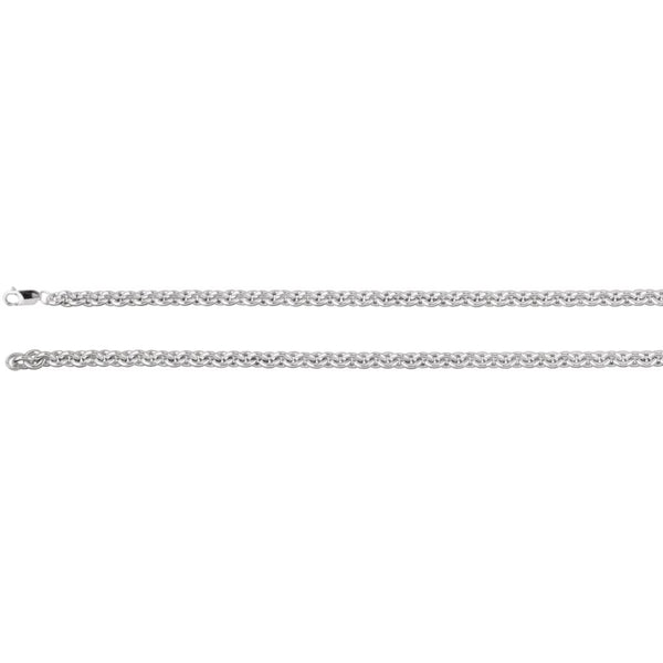 "Sterling Silver 6.75mm Wire Cable 20"" Chain"