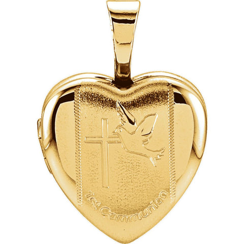 1st Communion Heart Locket in Gold Plated Sterling Silver