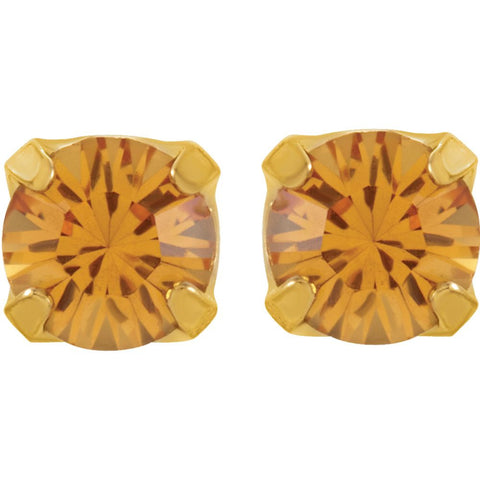 "24K Yellow with Stainless Steel Solitaire ""November"" Birthstone Piercing Earrings"