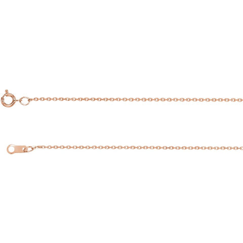 "14k Rose Gold 1mm Diamond Cut Cable 16"" Chain"