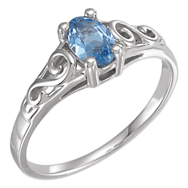 Sterling Silver March Imitation Birthstone Ring , Size 5