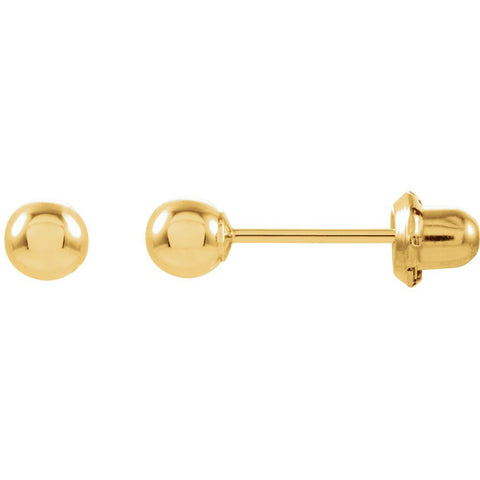 14k Yellow Gold Ball Stud Inverness Piercing Earrings
