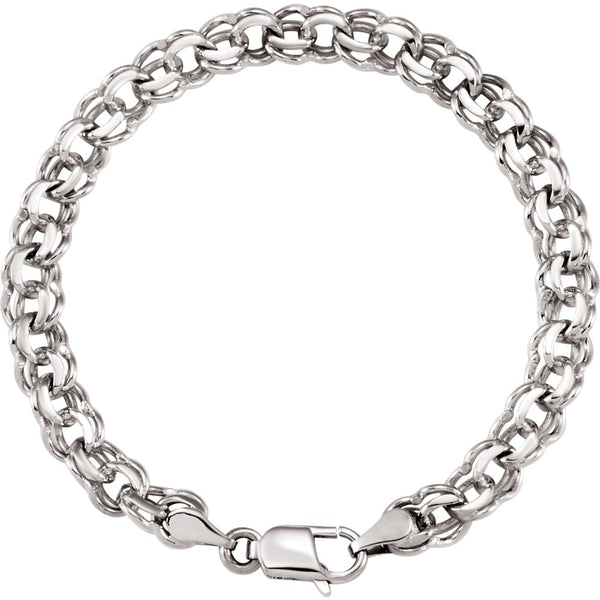 "14k White Gold 7mm Solid Charm 7"" Bracelet"