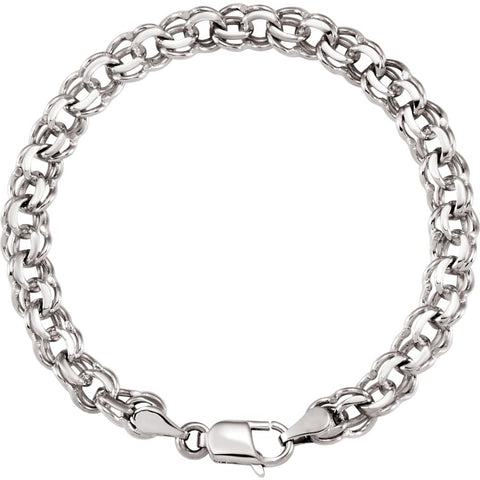 7 mm Solid Charm Bracelet in 14k White Gold ( 7 Inch )