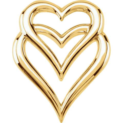 14k Yellow Gold Double Heart Pendant Slide