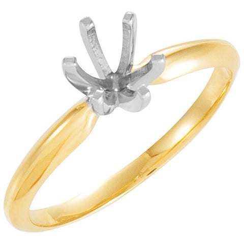 14k Yellow Gold & Platinum 7.8-8.6mm Round 6-Prong Heavy Solitaire Ring Mounting, Size 6
