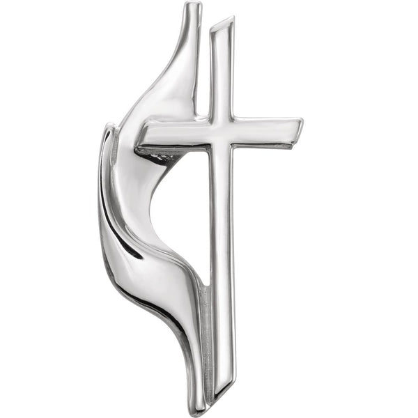 14k White Gold Methodist Cross Lapel Pin