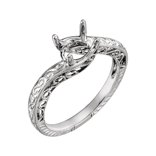 14k White Gold 4-Prong Solitaire Engagement Ring or Band, Size 6