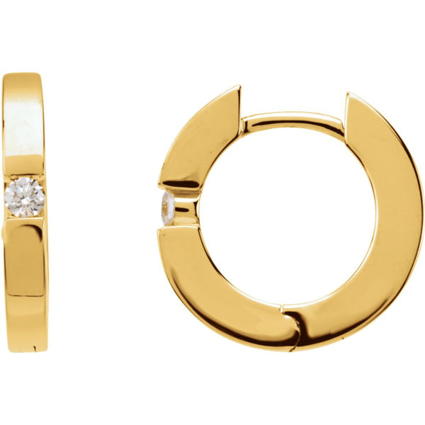 14k Yellow Gold .07 CTW Diamond Hoop Earrings