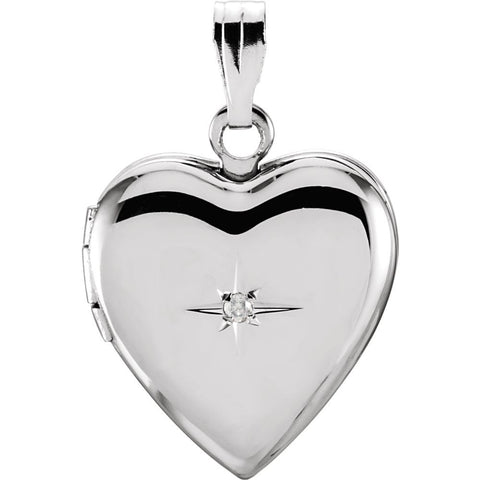 2.25x14.25 mm Heart Shaped Locket with Diamond in Sterling Silver