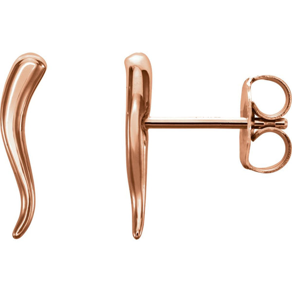 14k Rose Gold Horn Earrings