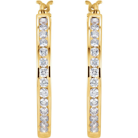 14k Yellow Gold 1 CTW Diamond Hoop Earrings