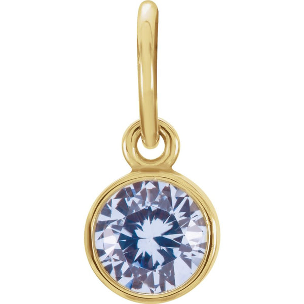 14k Yellow Gold Imitation Aquamarine Birthstone Charm