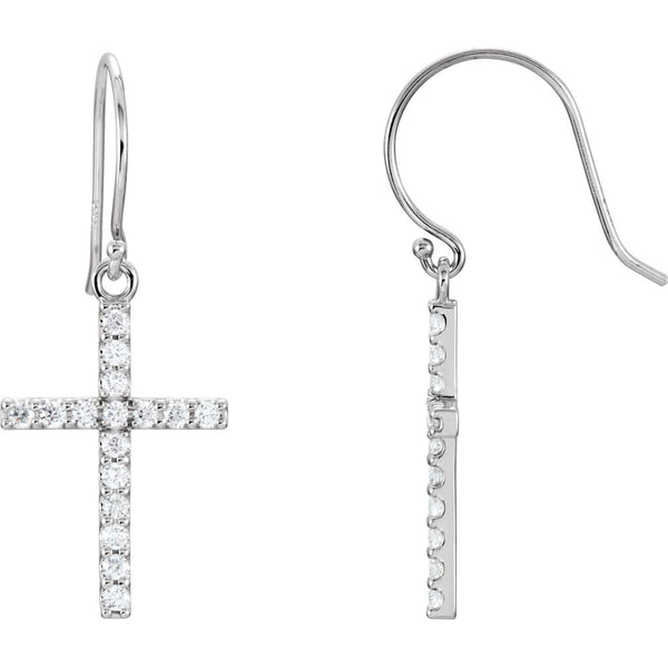 14k White Gold 1/2 CTW Diamond Cross Earrings