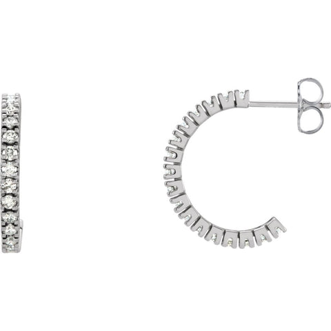 14K White Gold 5/8 CTW Diamond Hoop Earrings