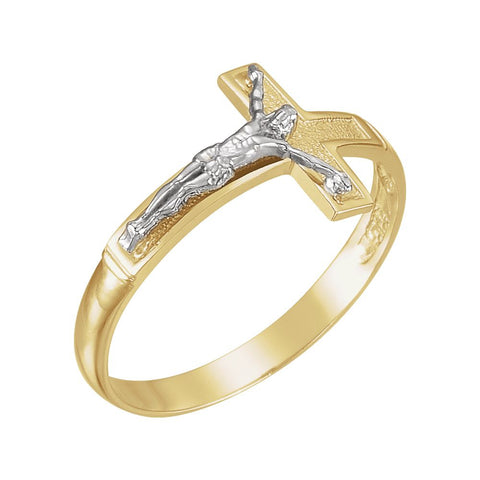 Two-Tone Men's Crucifix Cross Ring in 14k White and Yellow Gold ( Size 10 )