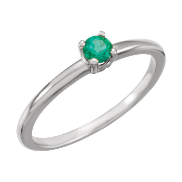 "14k White Gold Chatham® Created Emerald ""May"" Birthstone Ring, Size 3"