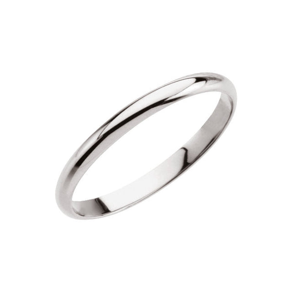 14k White Gold Youth Band Size 2